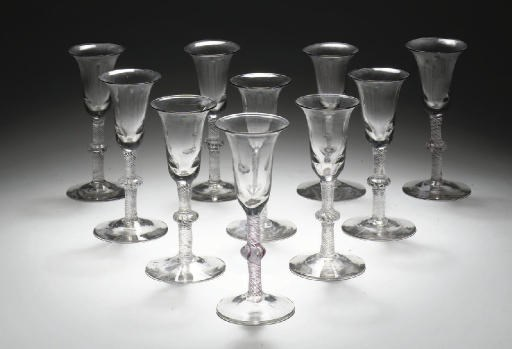 Ten opaque-twist goblets