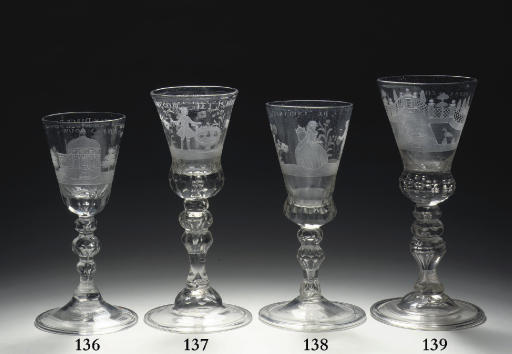 A Saxon engraved faceted goblet