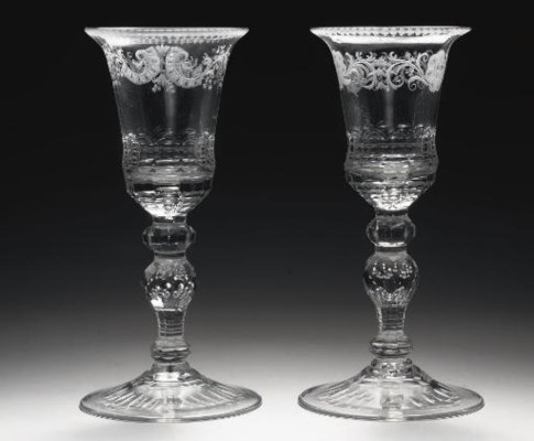 A pair of Dutch-engraved goble