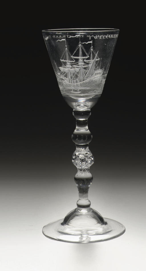 A Dutch-engraved light-baluster 'Greenland whaling' goblet