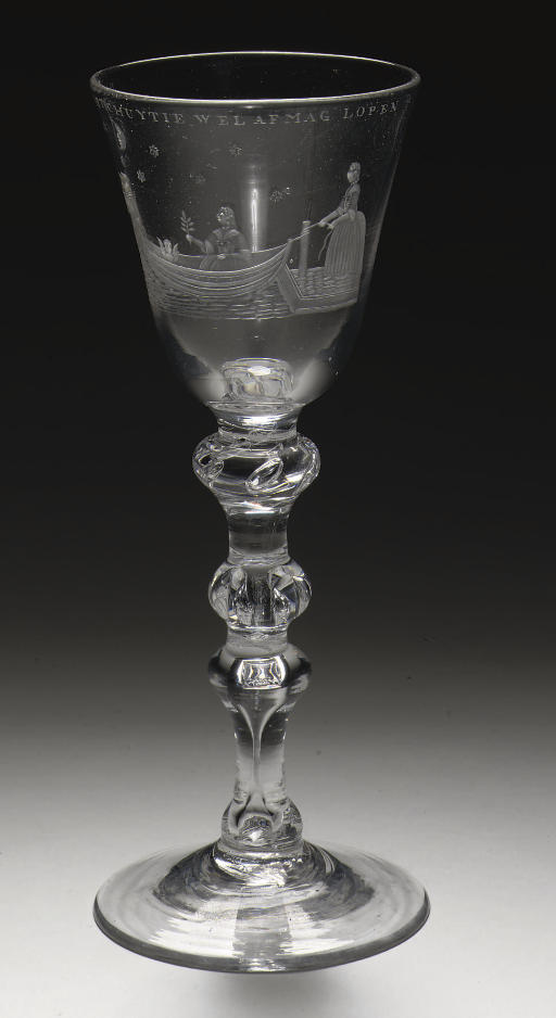 A Dutch-engraved light-baluster goblet