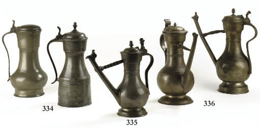TWO SWISS LIDDED PEWTER FLAGON