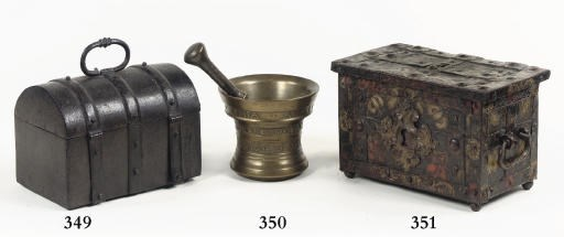 A FRENCH IRON MONEY CASKET