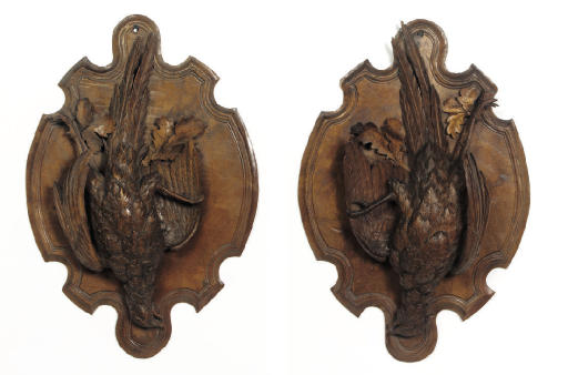A PAIR OF SWISS RELIEF CARVED
