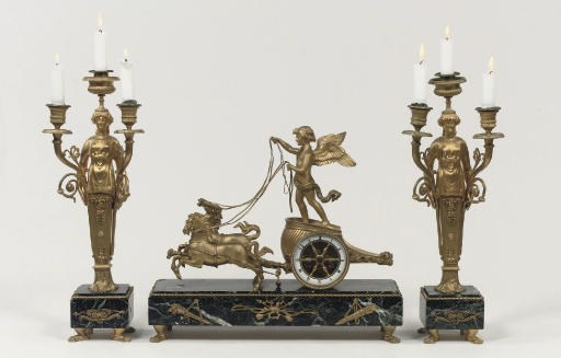 A FRENCH GILT-BRONZE AND VERDE