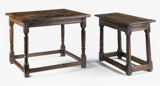 TWO VARIOUS ENGLISH OAK TABLES