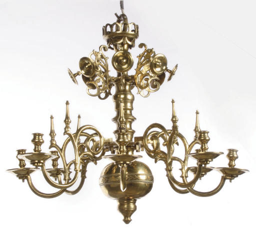 A BRASS EIGHT-LIGHT CHANDELIER