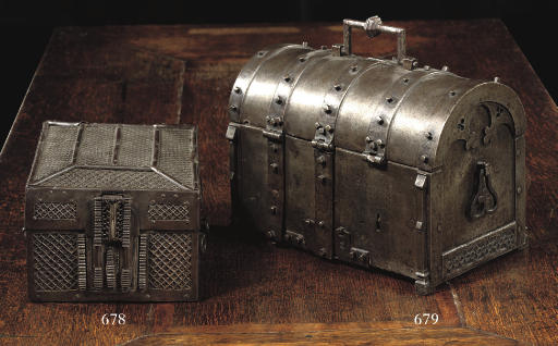 A FRENCH IRON MONEY CHEST