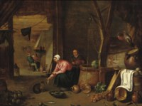 A barn interior with a peasant woman feeding fish to a cat near a well, figures near a stove in the background