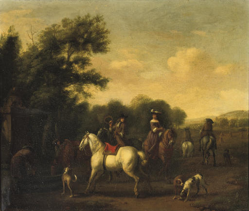 A hunting party resting at a well in a wooded landscape