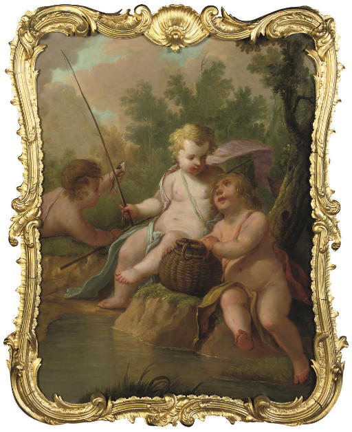 Three putti fishing in a wooded landscape