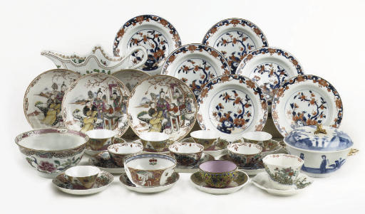 An assorted group of Chinese famille rose and Imari porcelain