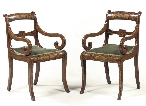 A PAIR OF DUTCH MAHOGANY AND M