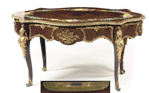 A NAPOLEON III ROSEWOOD AND ENAMEL CENTRE TABLE
