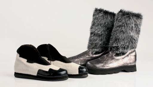 Metallic stamped kids with synthetic grey fur detail, EVA soles, 2000; and white cowhide and black leather flat ankle boots, nubuck detail, 2000