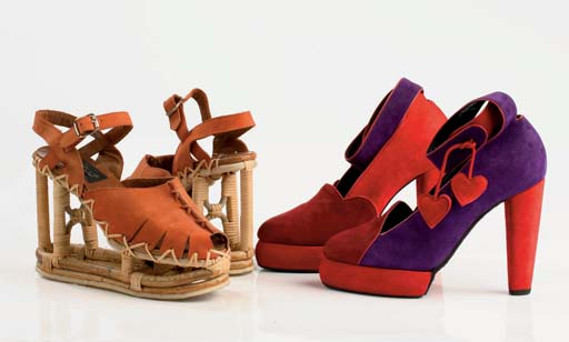 Rattan and natural bamboo open-work platform sandals, the upper of brandy coloured nubuck, 1973; and purple, burgundy and red suede heels with curved platform, with heart-shaped tassle detail, 1989