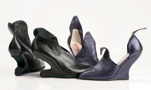 Green kid high-heeled floating wedges, the wedge leather-covered, 1989; and midnight blue kid shoes, high instep and high inset wedge heels, 1995