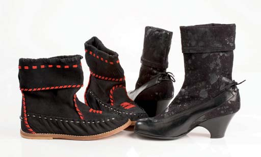 Black kid mid boots with 6cm heel, stretchy fabric cuffs, 2002; and black nubuck 'Indian Hand' boots, with hidden wedge and red blanketstitch trim, 1979