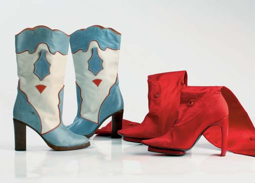 Red, white and blue cowgirl boots, 1976; and thigh-high red stretch fabric boots with disappearing platform soles, 2001