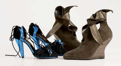 Suede and printed kidskin platform shoe-boots with ankle strap, platformed wedge sole, 1996; and black suede sandals with metallic blue 'leaf' detail, tapered high heel, 1974