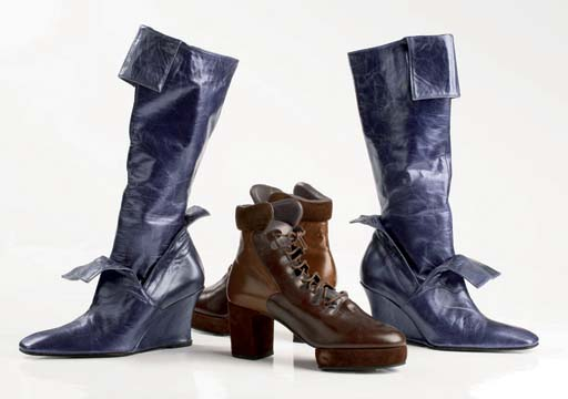 Brown laced ankle boots, with platform sole and thick heel, 1984; and purple glacé kid high boots with wedge sole, 2001