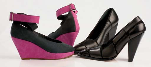 Black nubuck wedges with purple accents and ankle straps, 1983; and black kid and suede shoes, the high heel tapered, 1997
