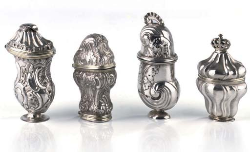 Four various Danish silver sce