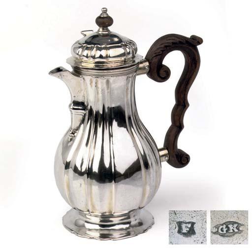 A GERMAN SILVER COFFEE-POT