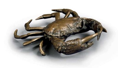 A bronze model of a crab