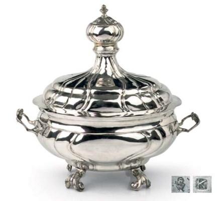 A German silver soup-tureen an