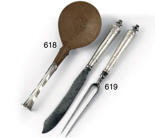A German silver knife and fork