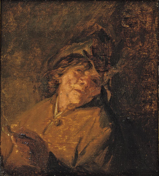 A study of a peasant smoking a pipe