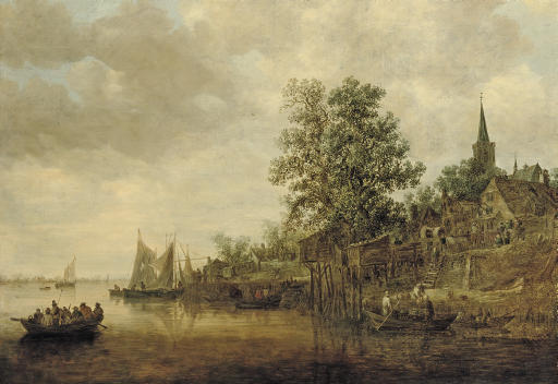 A wooded landscape with shipping on a river, a village nearby