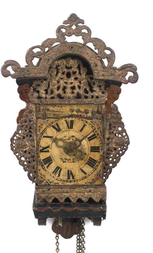 A FRISIAN POLYCHROME PAINTED STRIKING 'STOELSCHIPPERTJE' (BARGE CLOCK) WITH ALARM