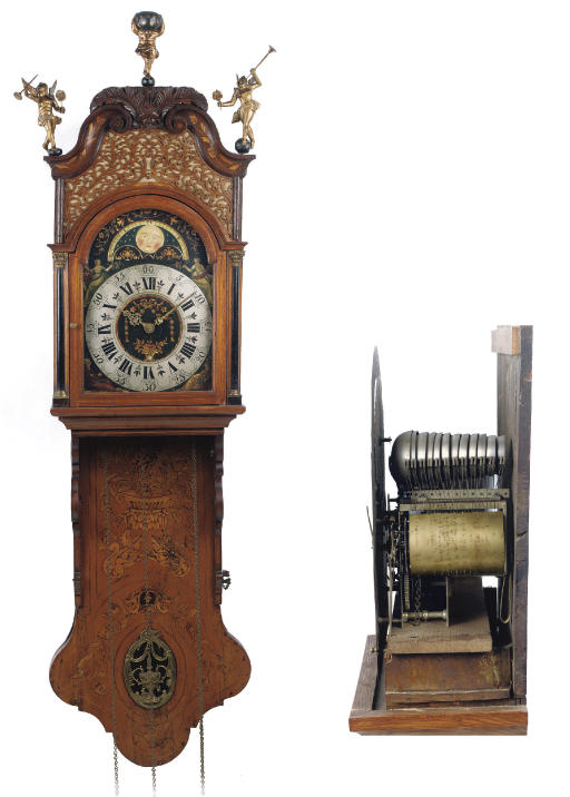 A FRISIAN ELM AND MARQUETRY STRIKING AND MUSICAL 'BURGEMEESTER STAARTKLOK' (MAYOR CLOCK) WITH MOONPHASE