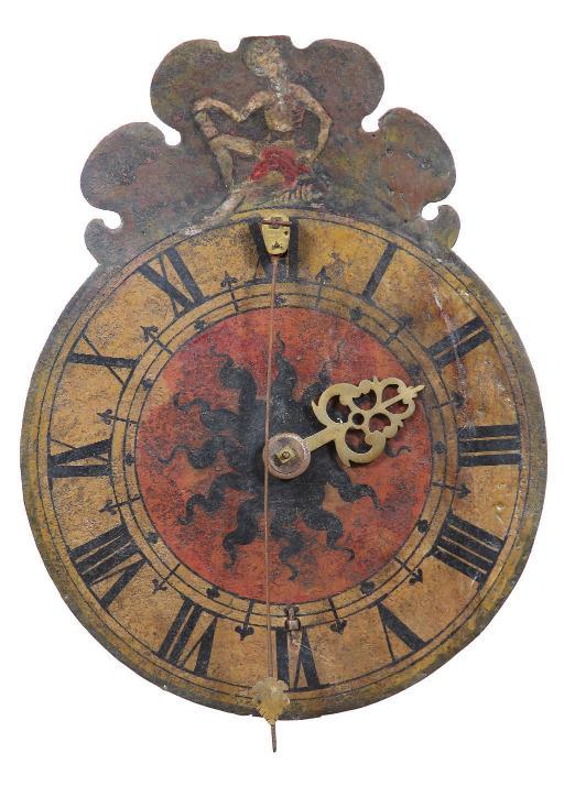 A German polychrome painted striking zappler wall clock