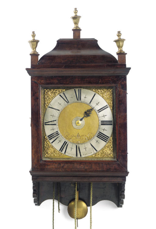 A DUTCH WALNUT STRIKING WALL CLOCK (HOOD CLOCK) WITH ALARM