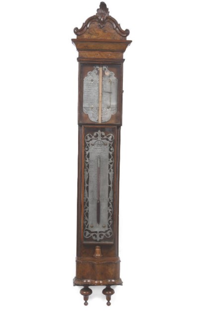 A Dutch walnut bak-barometer