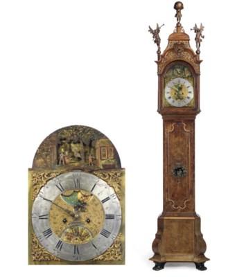 A Dutch walnut longcase clock