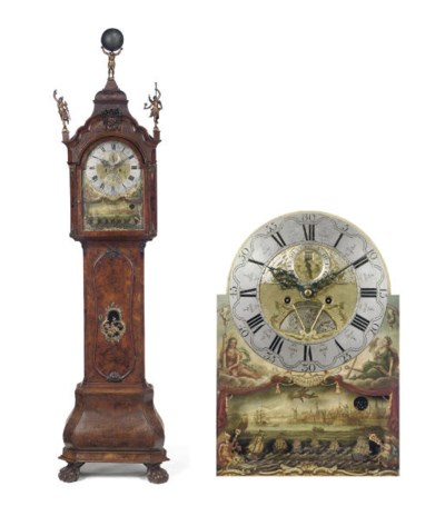 A Dutch small walnut longcase
