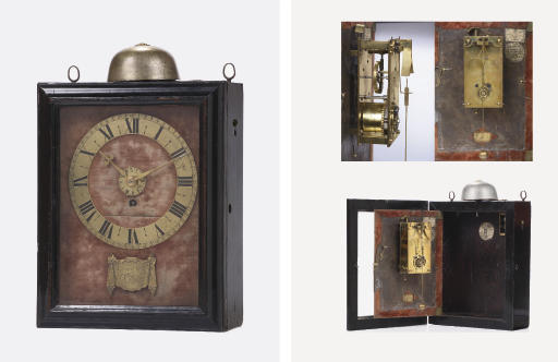 An important early Dutch ebony and rosewood pendulum clock with alarm