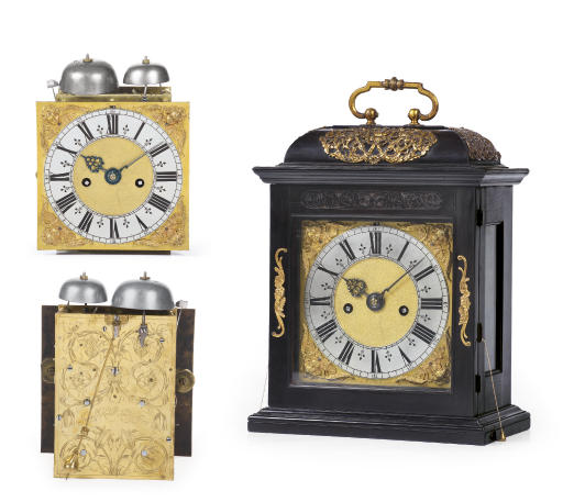 A Charles II ebony and gilt-brass mounted striking table clock with pull quarter repeat