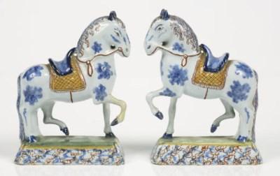 A pair of Dutch Delft polychro