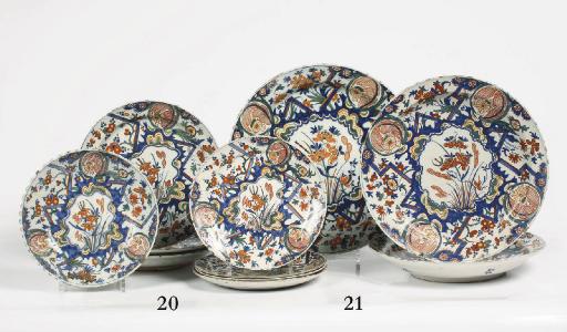 Three Dutch polychrome dishes