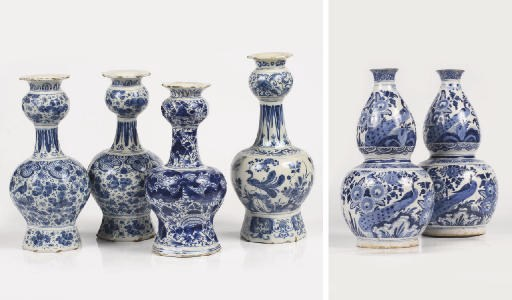 Six Dutch Delft various blue a