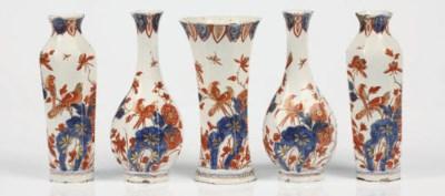 A Delft doré chinoiserie five-
