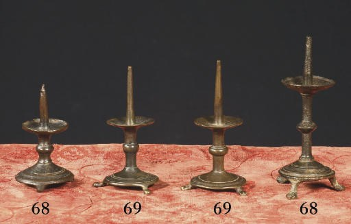 Two pricket candlesticks
