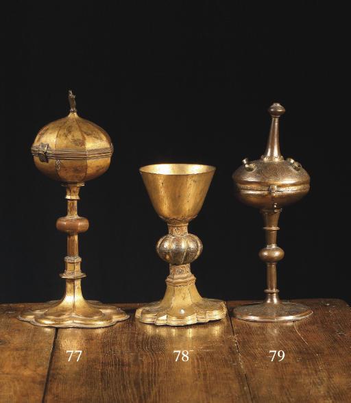 A gilt copper ciborium