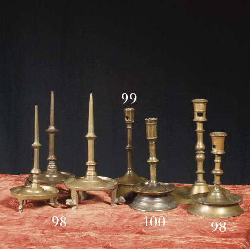 Three brass pricket candlestic
