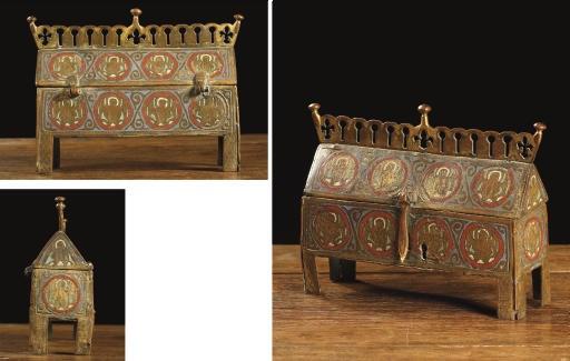 A rectangular parcel-gilt and